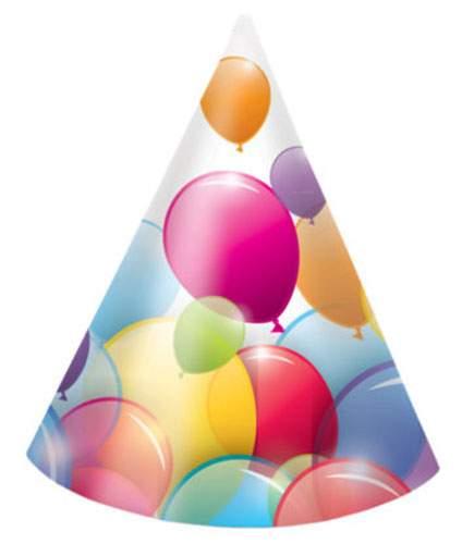 Χάρτινα καπελάκια Balloons (6 τεμ)