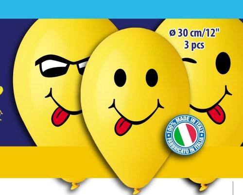 Μπαλόνια τυπωμένα Smiley Faces ( 3 τεμ)