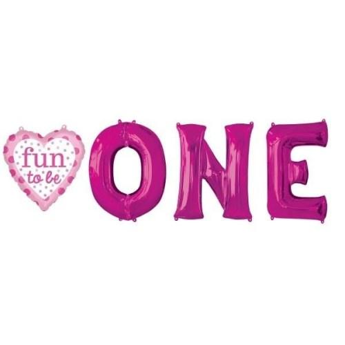 Μπαλόνια για γενέθλια 'Fun to be One' κοριτσάκι (4 τεμ)