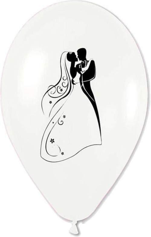 Μπαλόνι τυπωμένο γάμου λευκό περλέ Νεόνυμφοι