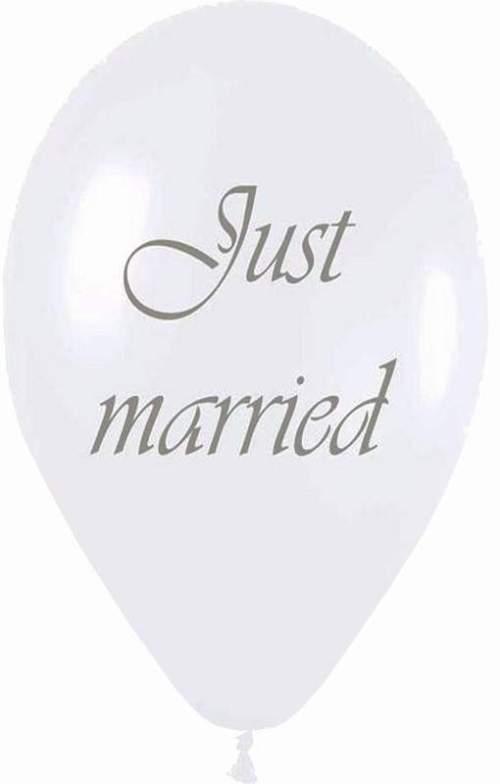 Μπαλόνι τυπωμένο γάμου λευκό περλέ Just Married