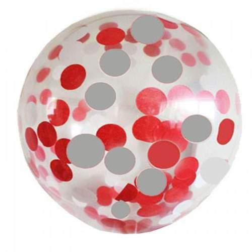 Διάφανο μεγάλο μπαλόνι γεμισμένο με Κόκκινο & Ασημί κονφετί