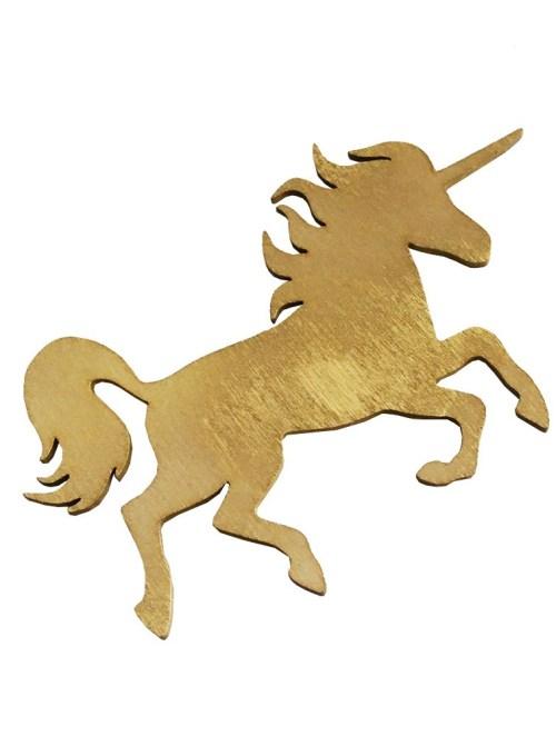 Ξύλινη μικρή χρυσή φιγούρα Μονόκερος