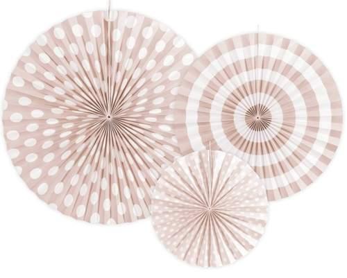 Σετ χάρτινες βεντάλιες ροζ παστέλ (3 τεμ)