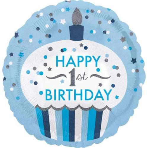 Μπαλόνι για γενέθλια 1st Birthday Boy Cupcake που ιριδίζει
