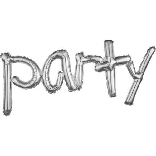 Μπαλόνι γενεθλίων 'Party' Ασημί εννωμένη φράση