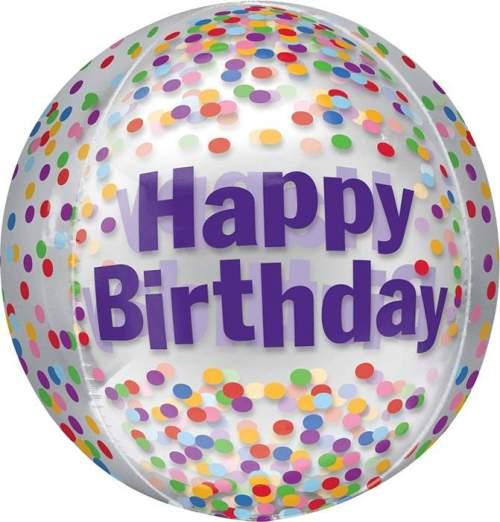 Μπαλόνι γενεθλίων Διάφανο Happy Birthday κονφετί ORBZ