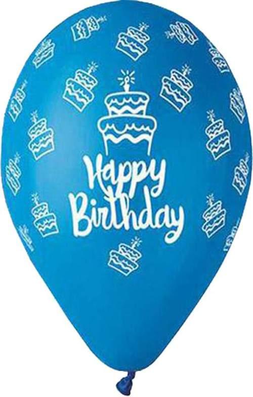 Μπαλόνι τυπωμένο για γενέθλια Μπλε 'Happy Birthday' cake