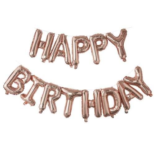 Μπαλόνι γενεθλίων ''Happy Birthday'' Ροζ-Χρυσό (13 τεμ)