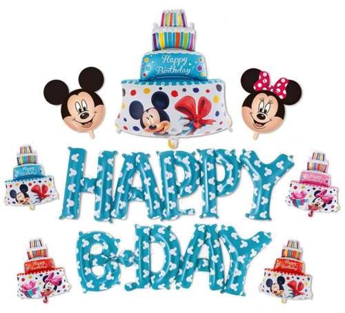 Σετ μπαλονιών Happy B-day γαλάζιο Mickey Mouse (9 τεμ)