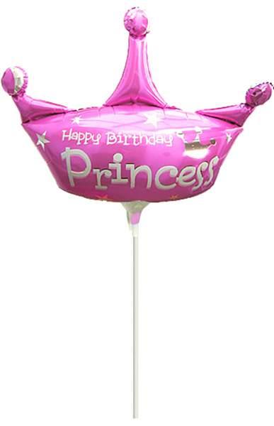 Μπαλονάκι Happy Birthday Princess μαζί με καλαμάκι