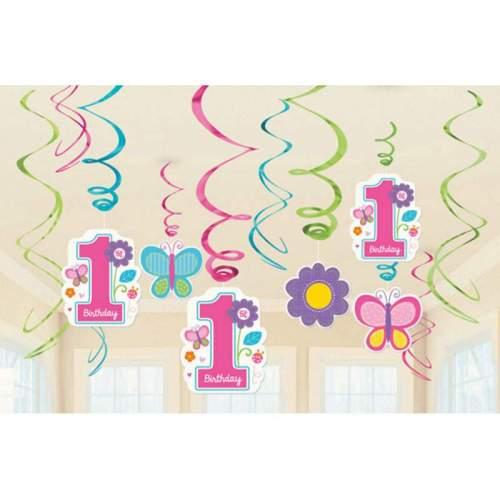 Διακοσμητικό σετ γιρλάντες Πρώτα γενέθλια κοριτσάκι