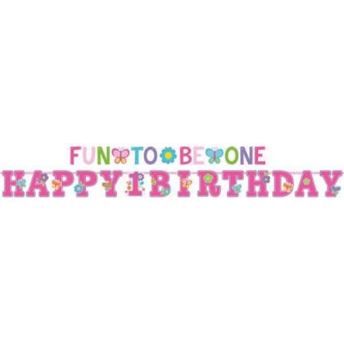 Διακοσμητικά μπάνερ Πρώτα γενέθλια κοριτσάκι (2 τεμ)