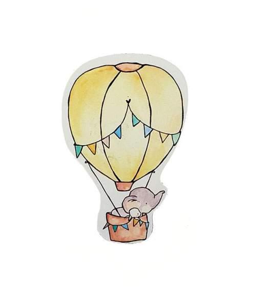 Διακοσμητικό μαγνητάκι βάπτισης Ελεφαντάκι & Αερόστατο