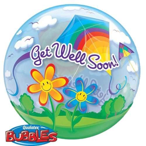 """Μπαλόνι """"Get well soon"""" με χαρταετούς bubble"""
