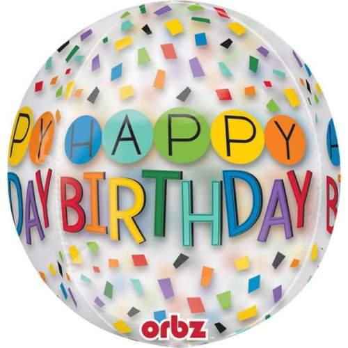 Μπαλόνι γενεθλίων Happy Birthday Rainbow κονφετί ORBZ