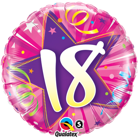 18th Birthday Shining Star Hot Pink Foil Balloon Bouquet by post