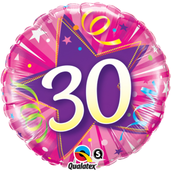 30th Birthday Shining Star Hot Pink Foil Balloon Bouquet by post