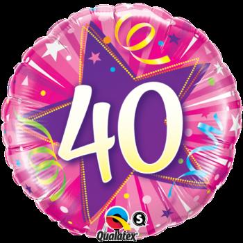 40th Birthday Shining Star Hot Pink Balloon Bouquet