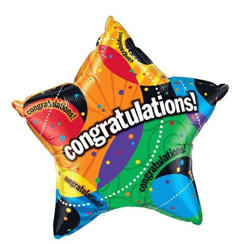 "Image of a rainbow-colored, star-shaped helium balloon that says ""Congratulations"" across the center"