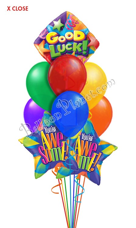Good Luck Awesome Balloon Bouquet 9 Balloons Balloon Delivery By