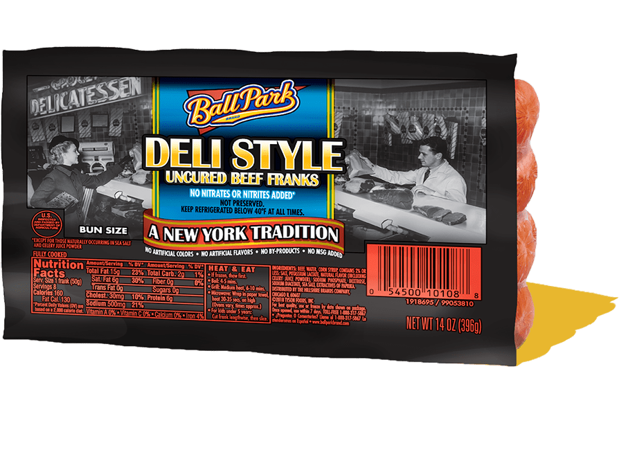 deli style beef hot dogs ball park brand