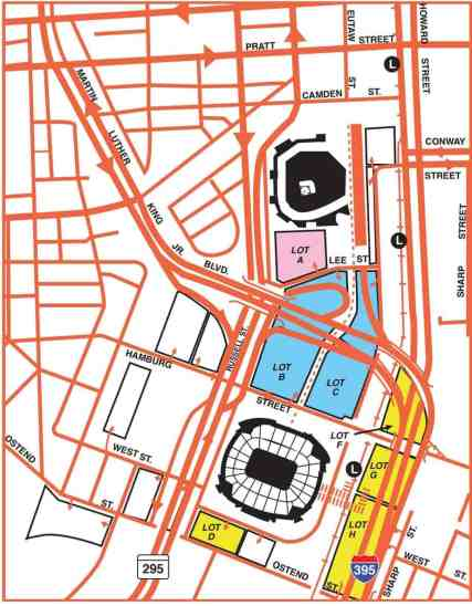 Parking Map at Oriole Park