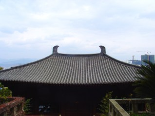The roof of a temple building