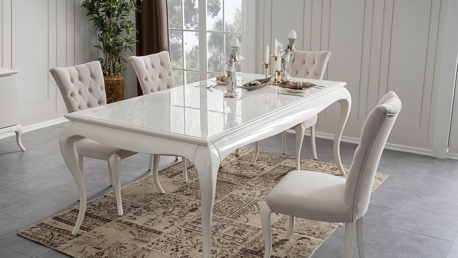 camellia white dining table