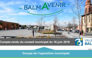BalmAvenir - Conseil municipal du 16 juin 2016 - Diapo1