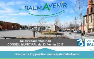 BalmAvenir - Conseil municipal du 23 février 2017 - Diapo 1