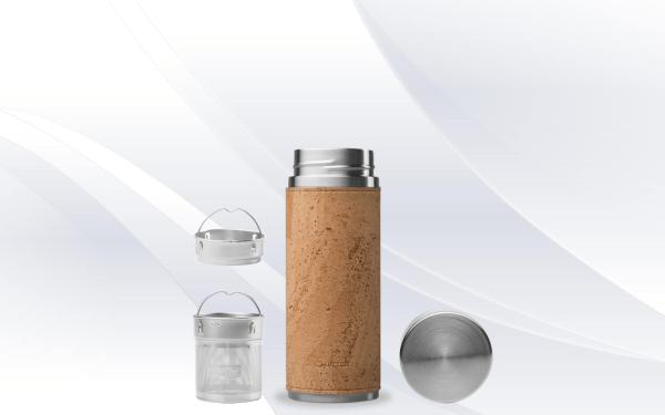 Beige Cork Qwetch Insulated Stainless Steel tea mug - 300ml