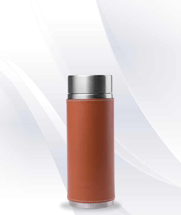 Leather cognac brown Qwetch Insulated Stainless Steel tea mug - 300ml