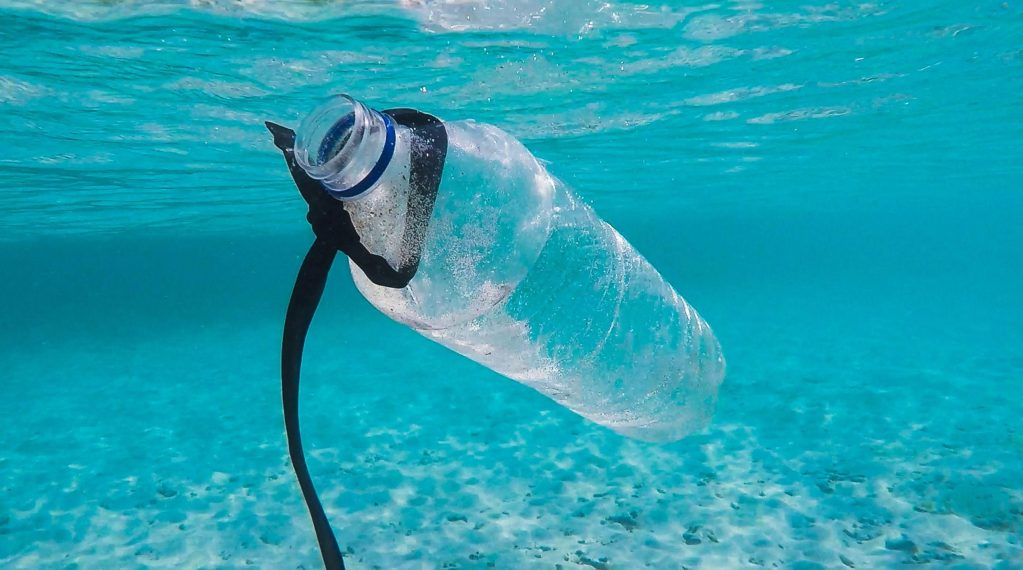 Plastic bottle in the ocean