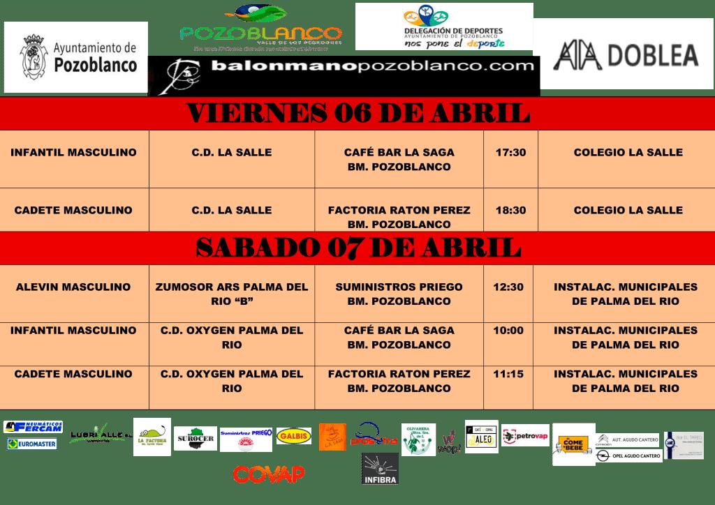 Enfrentamientos Club Balonmano Pozoblanco - Abril 2018