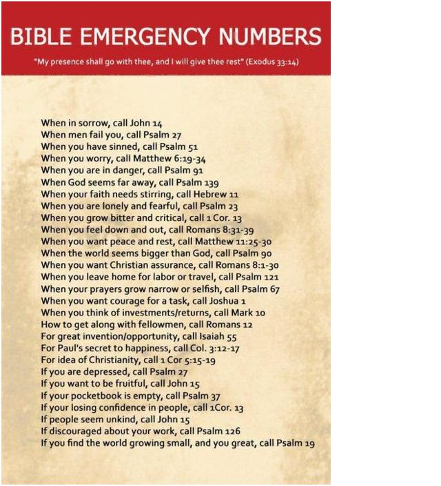 Bible Emergency Numbers Wake Up And Smell Life