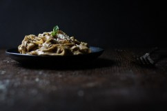 Tagliatelle with Black Garlic Eggplant Sauce