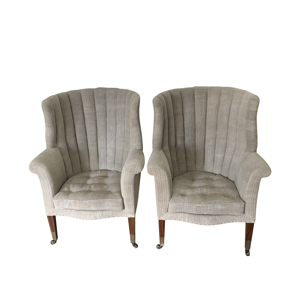 Balsamo Antiques 19thc English Pair Barrel Back Wing Chairs