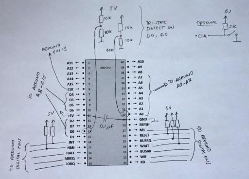 """Arduino + Z80 """"schematics"""""""