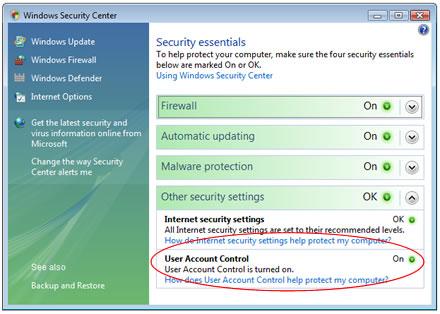 Sistema Control Ususuarios Windows Vista