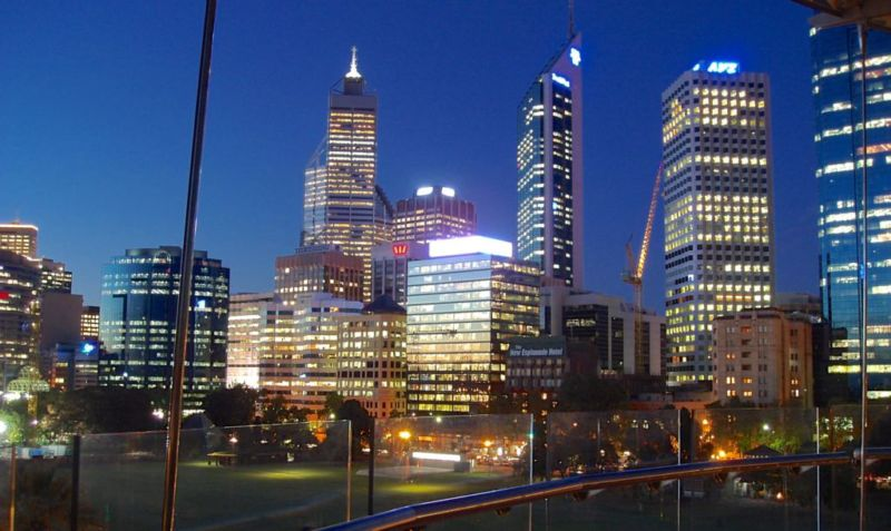 Night view of Perth CBD from Swan Bells