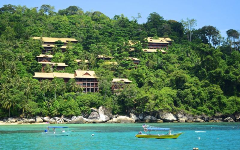 Chalets nested on hill at Salang, Tioman