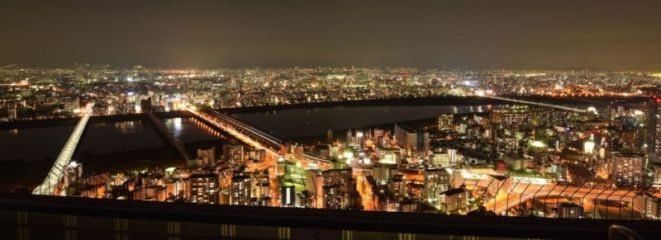 Osaka city night view from Floating Garden Observatory