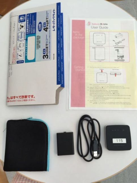 Parcel contents (device, charger, cable, pouch, return envelope, instructions) @2015
