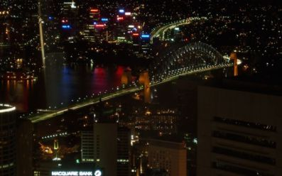Night view of Harbour Bridge from Sydney Tower Eye