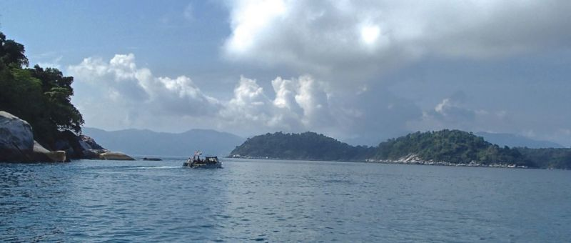 View at one of the open water dive site , Tioman