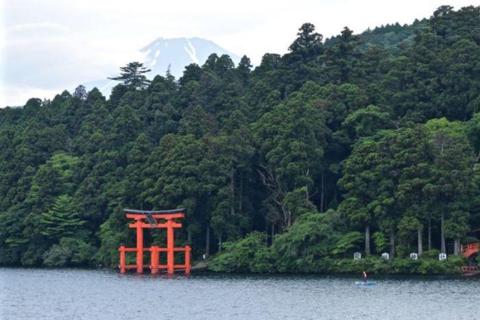 View of Mt Fuji and Hakone-jinja Shrine torii gate from cruise ship @2015