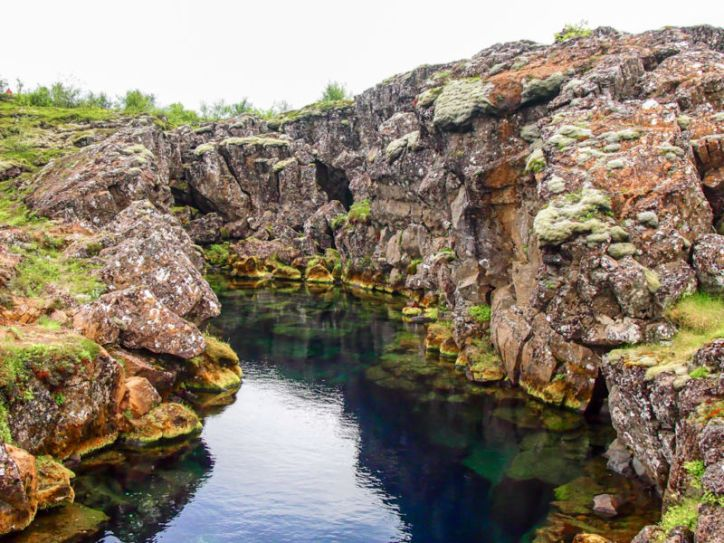Water-filled fissures (crevices), Thingvellir National Park, Iceland