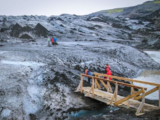 Mýrdalsjökull. It is possible to walk onto the glacier without having to join a guided glacier tour.
