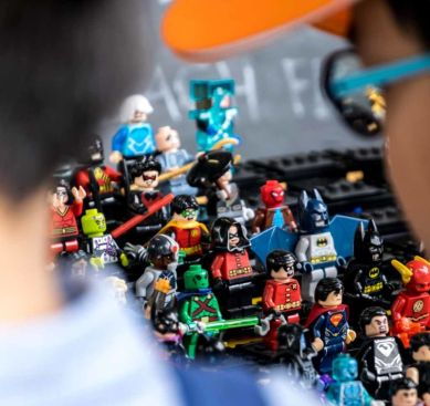 Stall selling Lego-typed figurines in Carrara Markets.